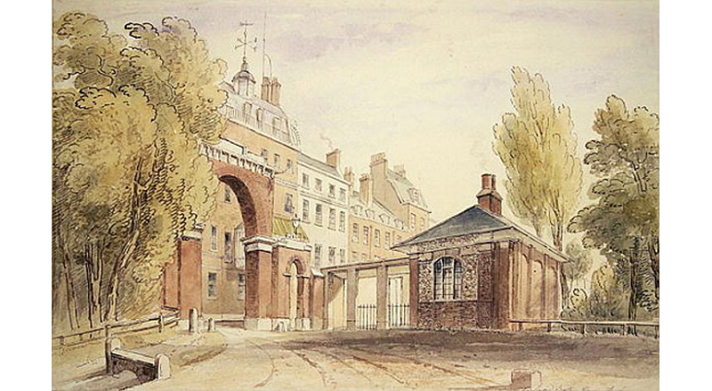 Cumberland Gate & Keeper's Lodge, watercolour, circa 1822, artist unknown. The following year the brick arch was taken down and an iron gate and lamppost installed, the lodge improved. In 1851 a triumphal marble arch (which had served as the state entrance of Buckingham Palace and removed to make room for the east wing) was erected on the site, and remains there to this day. The lodge became a privy, relocated amongst the nearby shrubbery.