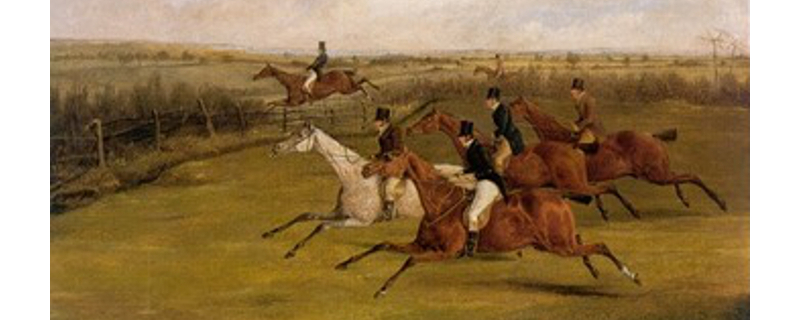 Field Becomes Select, by H.T. Alken (1785 - 1851), depicting a steeplechase.