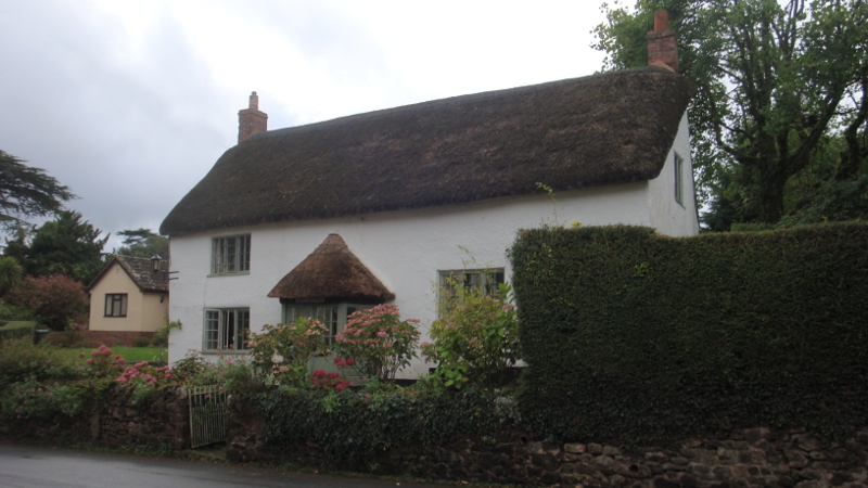 Dairy Cottage, Crowcombe. The cottages referred to in this story are no longer there, torn down decades ago, but there are still many fine examples of thatched roofs throughout Crowcombe.