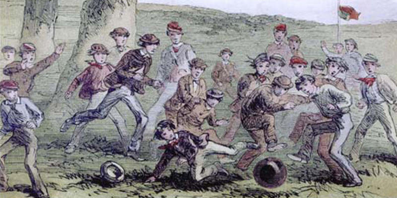 Mid-Victorian depiction of a football match.
