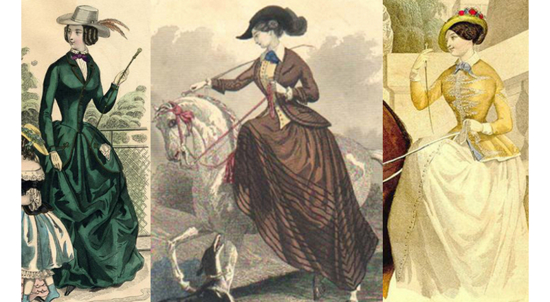 Kate's riding habit would have been styled something like these examples from the late 1840s.