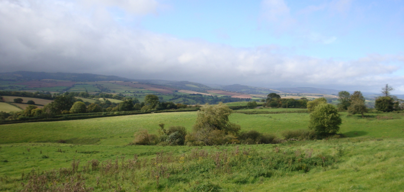 The view from Kate's window would have been similar to this photo, taken from low on the Quantock Hills, looking west to Exmoor.