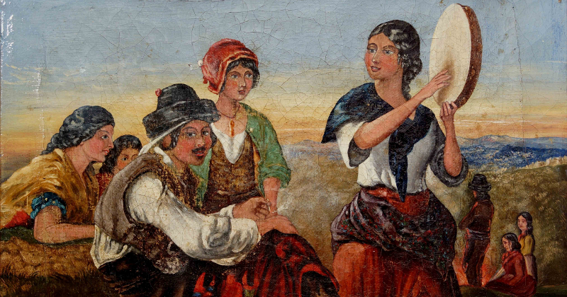 Spanish Gypsies, circa 1854, by F.W. Topham (1808 - 77).