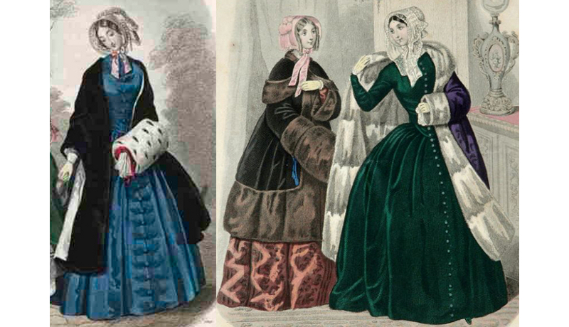Kaye's winter travelling suits would have been something like the outfits shown in these fashion prints from 1847 and 48.