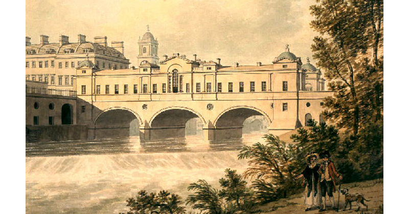 Pulteney Bridge, Bath, built 1789, depicted in the early 1800s.