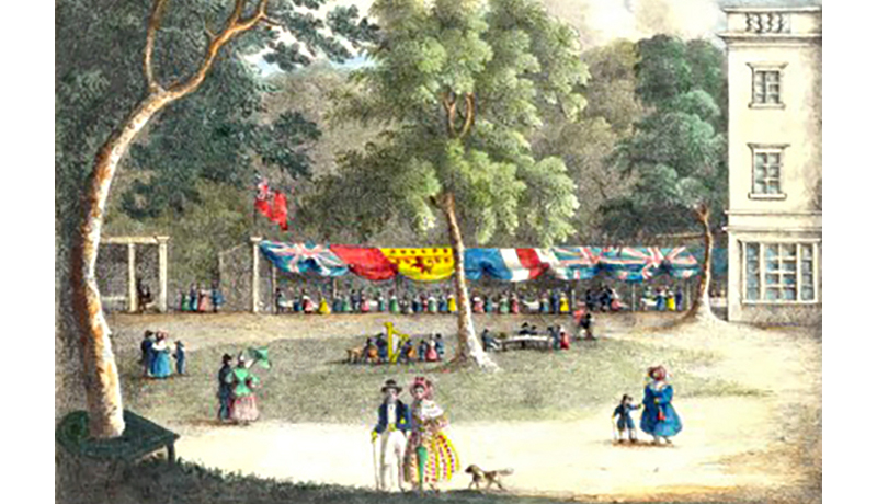 This postcard from 1836 nicely illustrates the crescent of dining stalls that once existed at the rear of the Sydney Hotel (Holburne Museum).