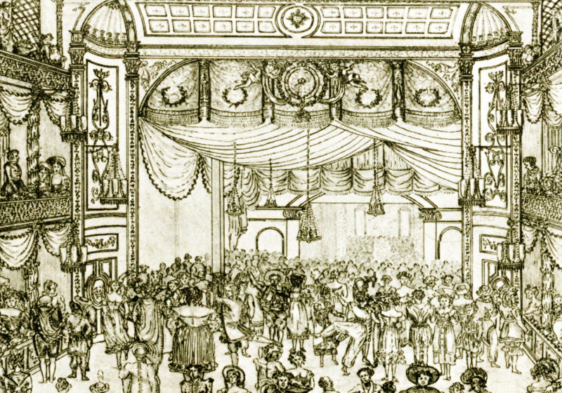 The interior of the Theatre Royal, Bath, circa 1820, depicting a lively fancy dress ball.