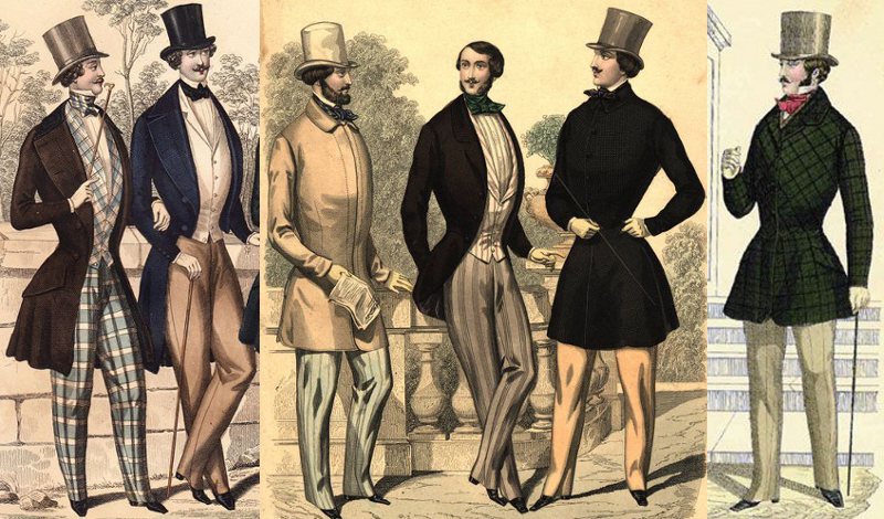 Stylishly attired gentlemen, fashion plates, 1844 - 48.