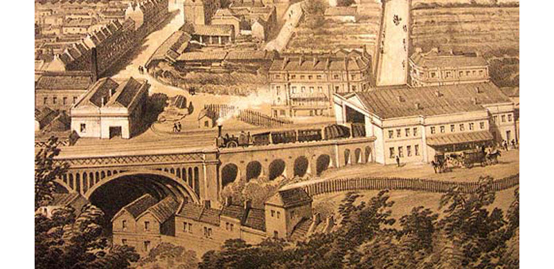 A Firefly locomotive pulls out from the Bath Great Western Railway station, 1846.