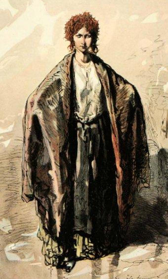 Paul Gavarni altered watercolour La Femme A Polyte